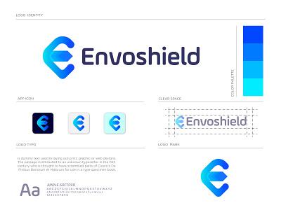 Envoshield branding abstract minimalist icon branding brand identity trading logo ui guard shield logo technology modern designer logo creator logo creation logo concept concept logotype logo mark logodesign logo