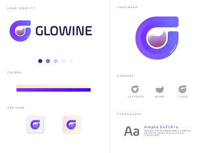 GLOW WINE LOGO CONCEPT mobile logo trend 2021 brand identity branding icon app concept creative minimal modern club logo bar wine g mark abstract lettermark g letter logo g logo logo concept logo