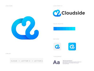 cloudside logo branding brand online branding design nopqrstuvwxyz abcdefghijklm lettermark logo mark branding creative abstract concept lettering icon app minimal modern c logo clouds logos logo