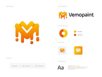 VEMOPAINT BRANDING branding brand identity logo marks nopeidea abcdefghijklm lettering abstract creative concept painting logo paint minimalist minimal modren logo logo mark logotype logodesign