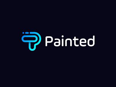 painting p logo logo designer opqrstuvwxyz abcdefghijklmn design branding creative abstract concept modern p colour letter mark identity
