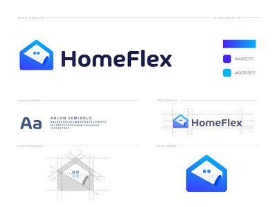 Homeflex logo logo design logos identity branding logodesign flat home for sale home design abstract creative concept modern rental paper house home project design logo