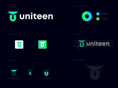 Uniteen U letter school  logo logo logodesign lettermark design abstract creative modern concept multimedia school interview u letter mark teacher minimal college class education school logo mark branding logo design