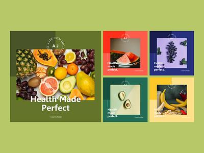 Instagram Post Collection | Eat Fruits ui template media social modern healthylife health fruit post instagram design