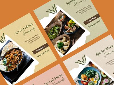 Instagram Post Collection   Special Menu 🥗 ad design banner graphic design story instagram homemade menu food post media social