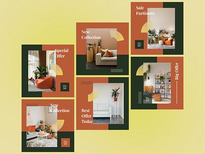 Instagram Post Collection | Furniture Sale Post  🛋 offer sale collection furniture living sofa couch modern slim free flat ui illustration graphic design ad design design social post media instagram