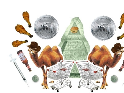 America in a Nutshell collage corrupt animal drugs money