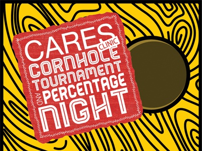 CARES Clinic Cornhole Tournament recovery health header poster bean bag wood cornhole