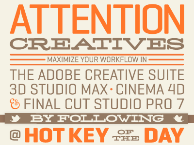 Hot Key of the Day: Promo hotkey entrepreneur promo typography orange brand brown twitter networking