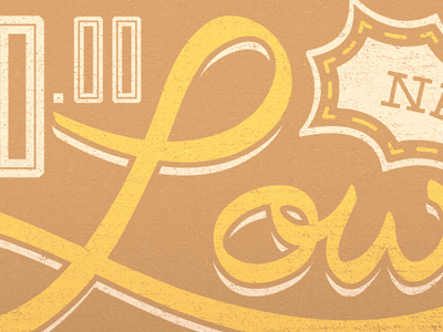 New Low script typography yellow brown texture slab