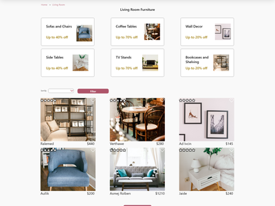 Maynooth Furniture - Category Page ui design web ui ux ui ux design maynooth furniture maynooth design adobe xd ux ui