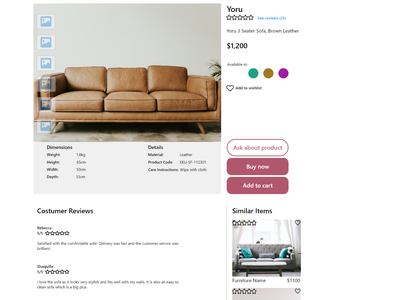 Maynooth Furniture - Product Page web ui ux design ui ux ui design maynooth furniture maynooth design adobe xd ux ui