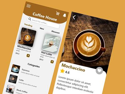 Coffee House UI Design ui ux design app application coffee design ui design ui adobe xd