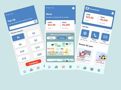 SIM Card App Screens application apps app provider internet ui ux design ui ux ui design adobe xd ux ui