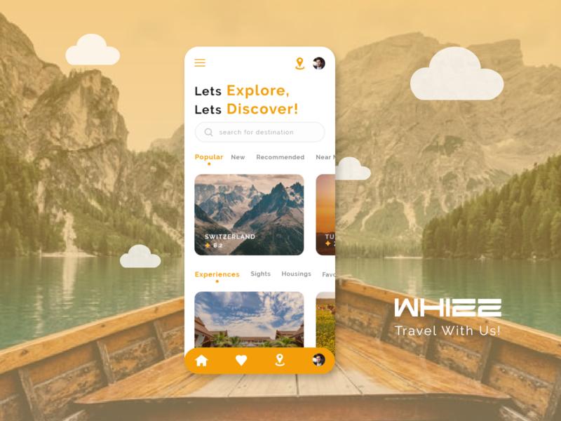 Whizz Travel App ui design travel app branding app ux ui typography app design design