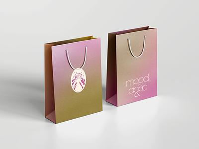 mood+aged shopping bag sustainability fashion shopping bag brand identity visual identity typography logo illustration design branding