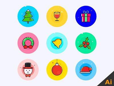 Xmas Icons freebie ai colourful christmas freebies icons