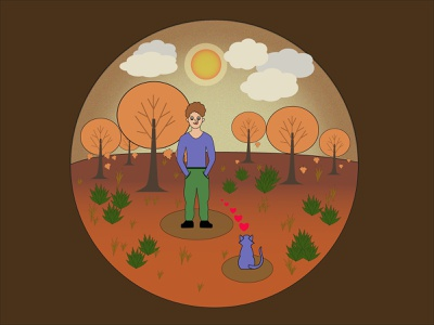 Boy and blue cat texture autumn illustration trees friend devotion heart love evening illustrations for books autumn leaves bushes sunset autumn park autumn blue cat boy and cat