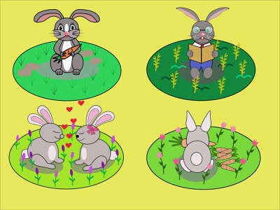 Rabbits on the grass, fabulous rabbits, smart rabbit. design graphic design icon vector illustration cartoon illustration illustration for fairy tales flowers vector bunnies and flowers rabbit on the grass delicious rabbit breakfast carrots gray rabbit rabbits kissing rabbit with glasses smart rabbit bunnies rabbits