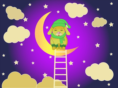 BUNNY FOR A MONTH cloudy sky cartoon illustrations bunny for a month bunny for a month a sleepy hare a sleepy hare a month a month a ladder to the sky a ladder to the sky stars in the sky