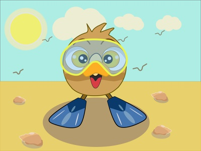 Owlet, summer illustration, character for your b happy owlet blue sky owlet in mask owlet in flippers sun owl character for your book character owl sea seagulls sand heat beach summer summer illustration owlet