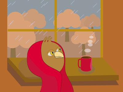 owlet, autumn illustration, autumn home comfort. red blanket owl in a blanket owl on the sill warming drink coffee cold bad weather rain sad owl bored owl owl character for your book owl character autumn autumn illustration owlet