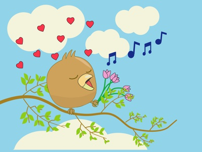 owlet in love, spring illustration, spring serenade. sun warmth blue sky owlet in love birds sing love flowers tulips spring spring illustration owl character for your book owl character owlet