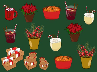 new year illustrations, christmas illustrations winter drink. candy canes new year gift pine branches rowan branch boxes gifts basket with tangerines flower in a pot mulled wine cocoa eggnog poinsettia christmas illustrations new year illustrations