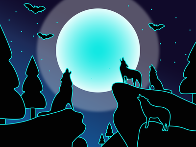 wolves and moon neon print male and female print light of the moon spack of wolves wolves on rocks night forest beast wolf and moon wolf