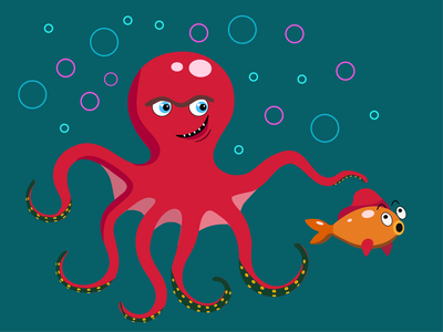 Red Octopus octopus and fish world sea under water childrens design fish bubbles gold fish tentacles red octopus octopus