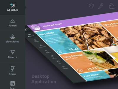 Desktop food application nav ui ux food application designer flat metro minimalist team-interloop