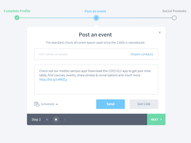 Post an event post event post event ui ux application app form inputs buttons wizard