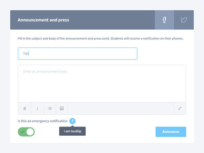 Dashboard announcement dashboard announcement press ui ux buttons toggle input text area text editor tooltip