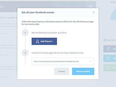 Facebook events modal events facebook events get events ui ux model
