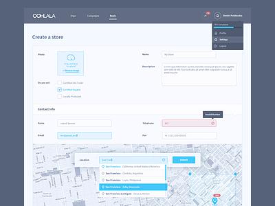Create a Store Form store form map dropdown menu geolocation ui ux