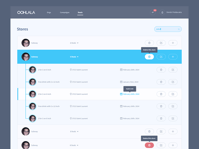 Stores stores admin panel control panel dashboard cp ui ux tooltip grids search