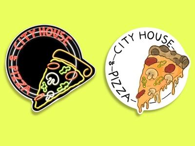 City House of Pizza Stickers minimal branding