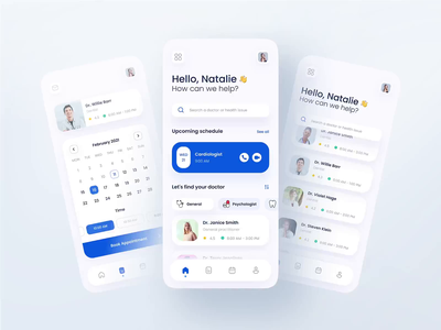 Healthcare - Telemedicine App doctor health appointment booking system prototype figma mobile app mobile telemedicine healthcare interactive app design app ux ui motion interface interaction design animation