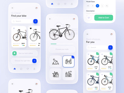 Bicycle Shop App Design bicycle app bicycle shop bike app bike shop prototype figma mobile app mobile bicycle bike interactive app design app ux ui motion interface interaction design animation