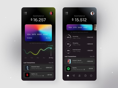 Finance - Mobile Banking App mobile ui fintech app bank app wallet app design interface ui ux app ui app design dark ui credit card mobile mobile app figma finance app finance banking app banking