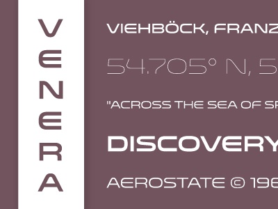 Venera Now Available! venera lost type font typography sans extended space russia probe sample specimen numbers 100 300 500 700 900 letters purple