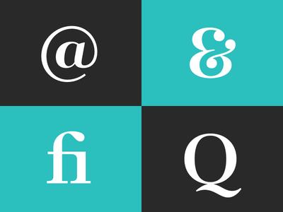 Glyphs serif glyphs at symbol ampersand q ligature fi typography font
