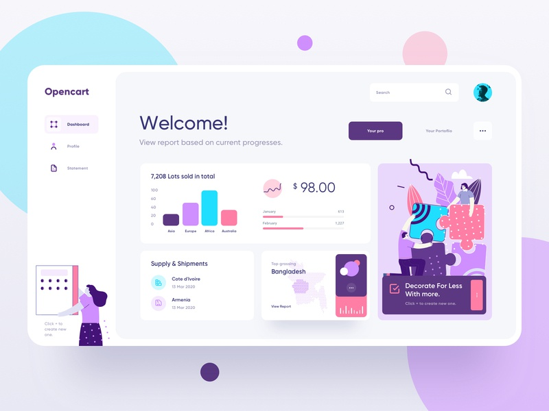 Opencart - Commercial Dashboard design management system ecommerce vector icon data analytics minimal creative typography branding logo application ui ux product illustration color profile dashboard