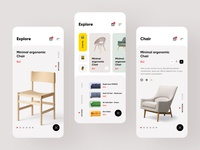 Furniture e-commerce ios mobile app screens chair sofa cart ux user interface user experience store shopping shop product online mobile ios ecommerce design chair buy buyer button android