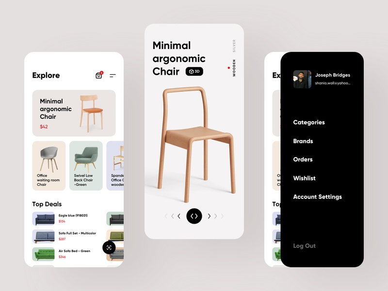Furniture e-commerce ios mobile app screens store shop shopping mobile ios android ecommerce designer interior decoration furniture clean branding dashboard colorful app creative design minimal ux ui