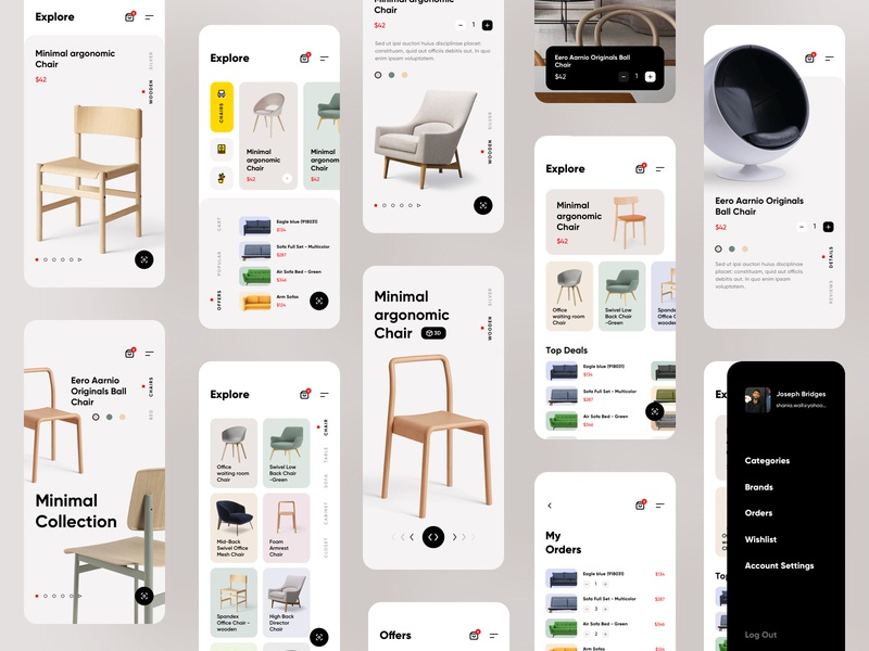 Furniture e-commerce ios mobile app all screens dashboard ecommerce shop shopping store furniture colorful app creative design brand design ecommerce redesign case study freebie ui kit all screens full app
