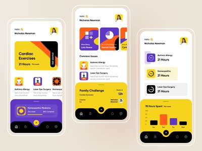 Physical Excercise Tracker fitness app gym healthcare color palette agency hybrid android ios health medical dark clean illustration colorful app creative design minimal ux ui