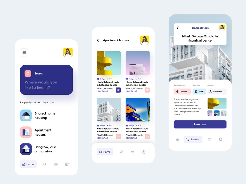Accomodate - Rental home finder mobile application UI dashboard illustration solution business payment hotel ui ux mobile app minimal color scheme branding logo service rental rent directory search find housing home