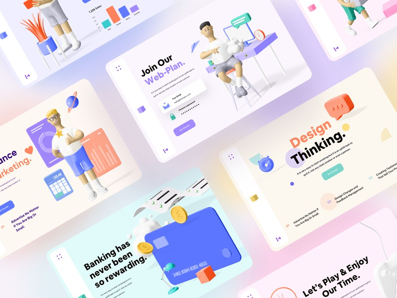 Colorful Minimal 3D Web Headers payment web design card 3d skeuomorphic illustration minimal dashboard header web business data growth creative website mobile app landing page colorful palette color scheme