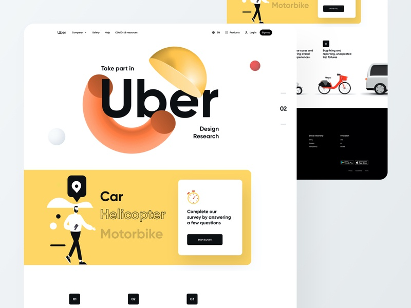 Uber Survey Page - Website UI Design geometric art 3d abstract colorful landing page app design creative website minimal ux ui car rental car bike lyft ride sharing app uber